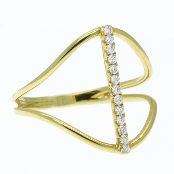 Slim Open Ring With Diamond Row - Item # R1624 - Reliable Gold Ltd.