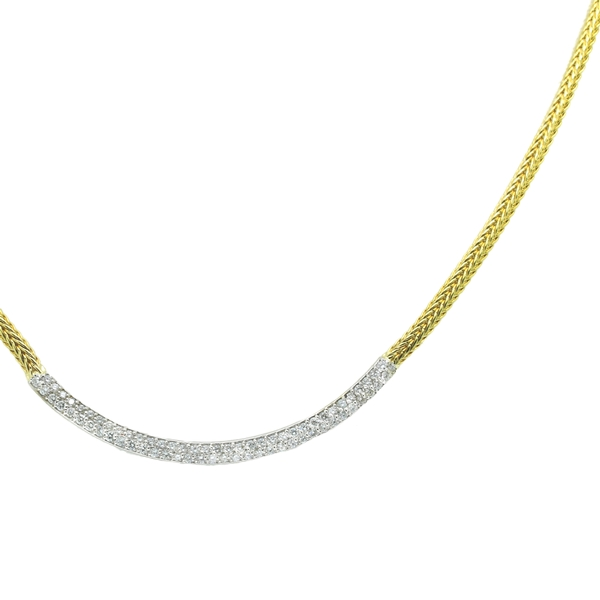Slim Woven Necklace With Diamond Row - Item # MCM01 - Reliable Gold Ltd.