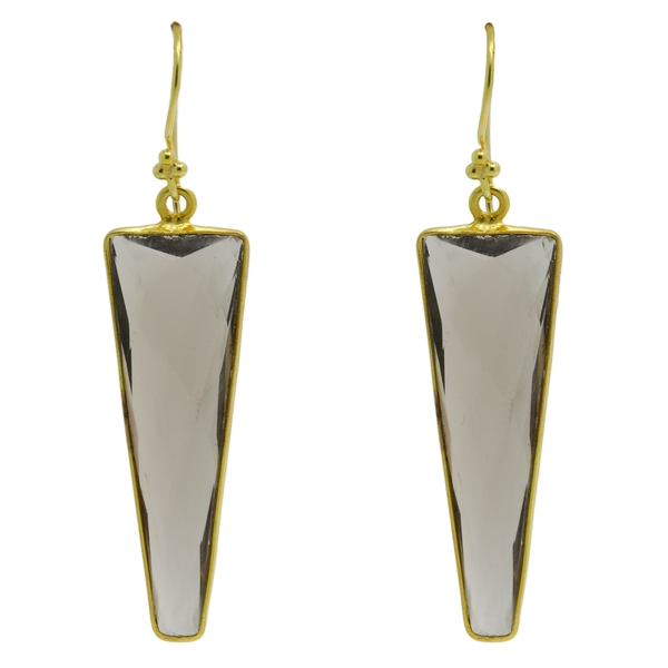 Smokey Quartz Triangle Drop Earrings - Item # ER1503 - Reliable Gold Ltd.