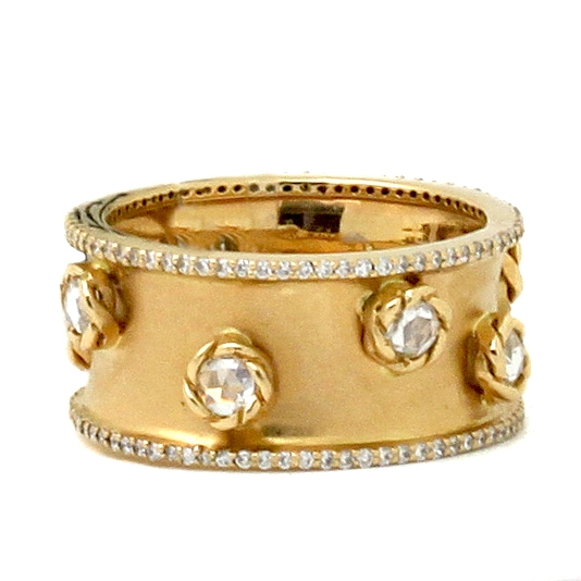 Wide Yellow Gold Band With Diamonds - Item # HM0187 - Reliable Gold Ltd.