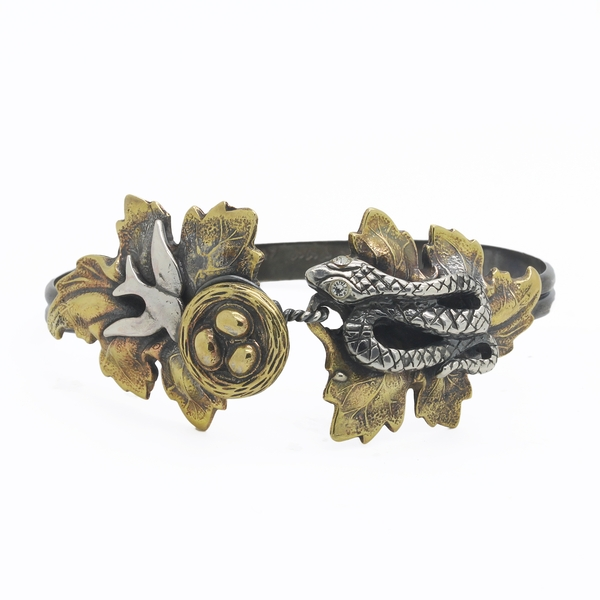 Snake & Bird Nest Cuff Bracelet - Item # TRM002 - Reliable Gold Ltd.