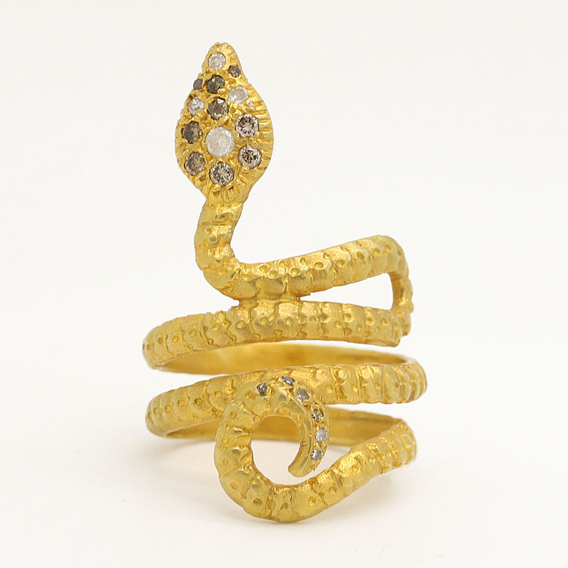 Shiny Yellow Gold Snake With Diamond Head - Item # R0022 - Reliable Gold Ltd.