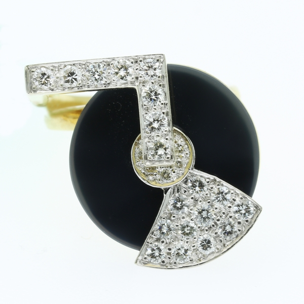 Geometric Spinning Ring With Onyx & Diamonds - Item # MDM03 - Reliable Gold Ltd.