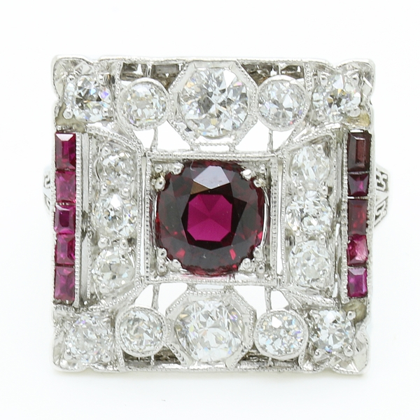 Square Art Deco Ruby And Diamond Ring - Item # R1708 - Reliable Gold Ltd.