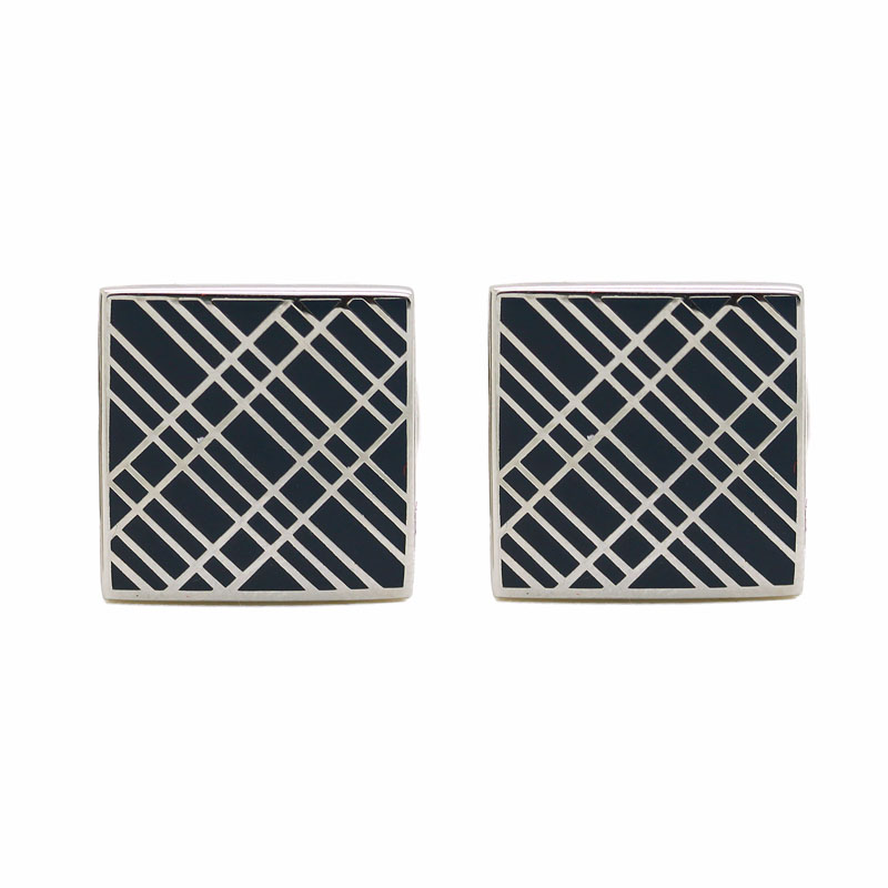 Square Enamel On Silver Cuff Links - Item # CL526 - Reliable Gold Ltd.