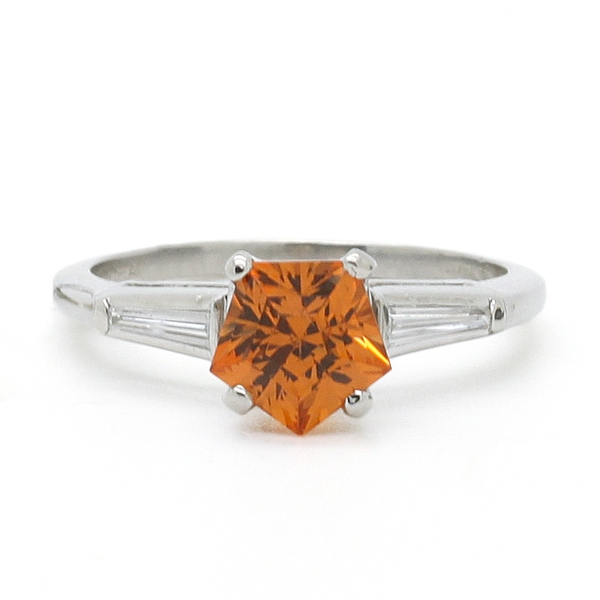 Sunstone Ring With Diamonds - Item # R0604 - Reliable Gold Ltd.