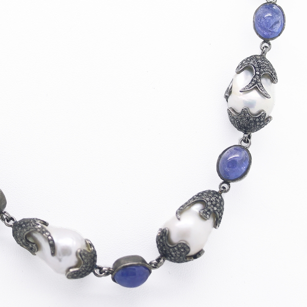 Baroque Pearl, Tanzanite & Diamond Necklace - Item # N0168 - Reliable Gold Ltd.