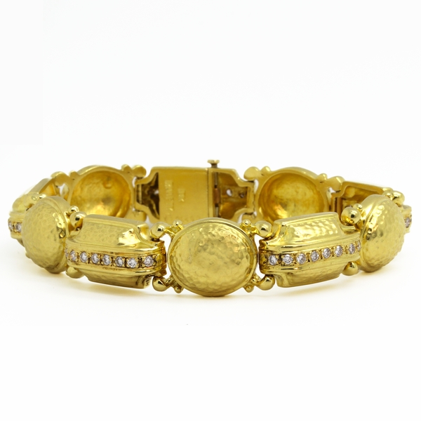 Diamond Bracelet In Hammered Yellow Gold - Item # B0283 - Reliable Gold Ltd.