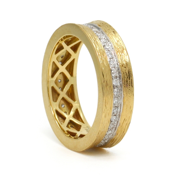 Textured Yellow Gold Band With Row of Diamonds - Item # R0604a - Reliable Gold Ltd.