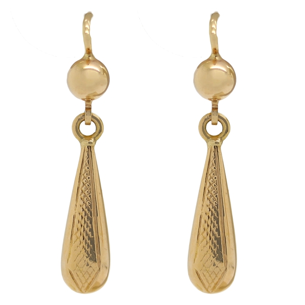 Textured Estate Drop Earrings - Item # ER5070 - Reliable Gold Ltd.