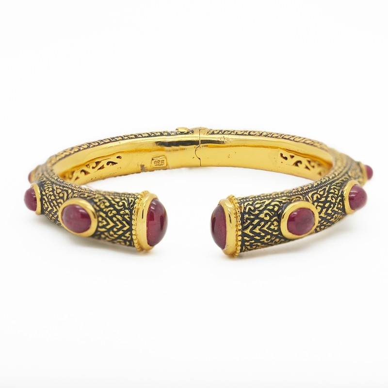 Hinged Cuff Bracelet With Cabochon Rubies - Item # B0104 - Reliable Gold Ltd.