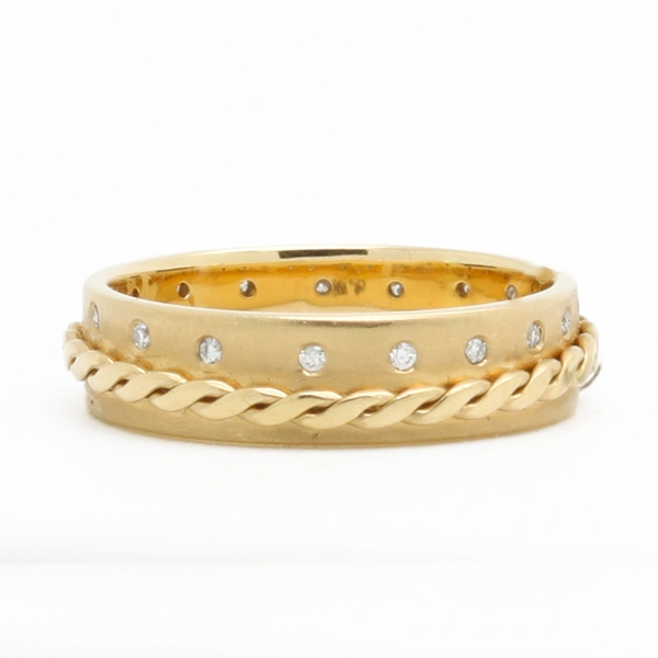 Textured Yellow Gold Band With Diamonds - Item # HM0176 - Reliable Gold Ltd.