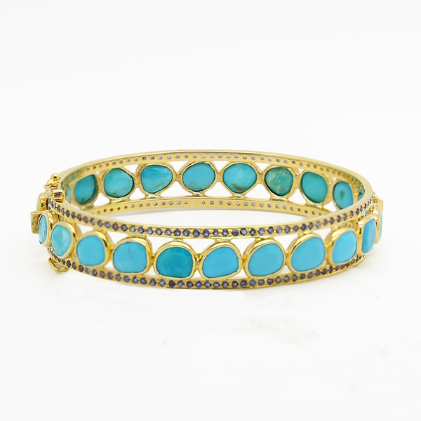 Turquoise Hinged Cuff Bracelet With Iolite Edges - Item # B0193 - Reliable Gold Ltd.