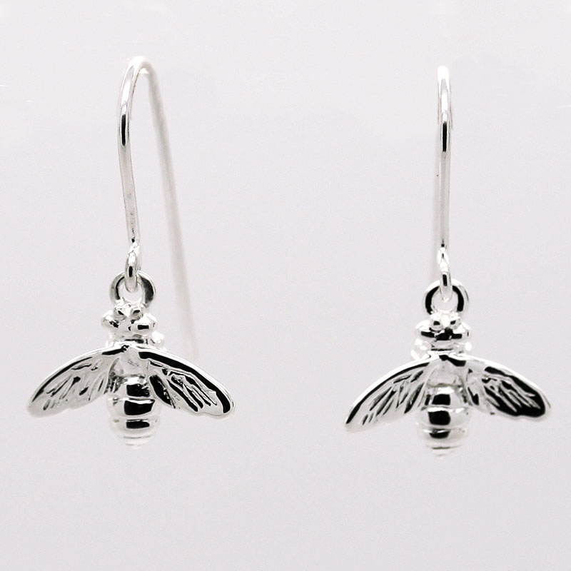 Sterling Silver Bee Drop Earring - Item # ER0088 - Reliable Gold Ltd.