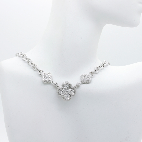 Diamond Clover Necklace In White Gold - Item # N0359 - Reliable Gold Ltd.