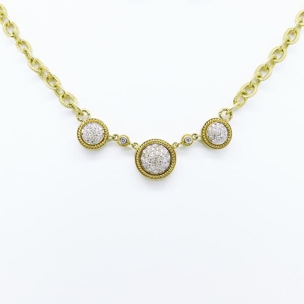 Diamond Station Necklace In Yellow Gold - Item # N0360 - Reliable Gold Ltd.