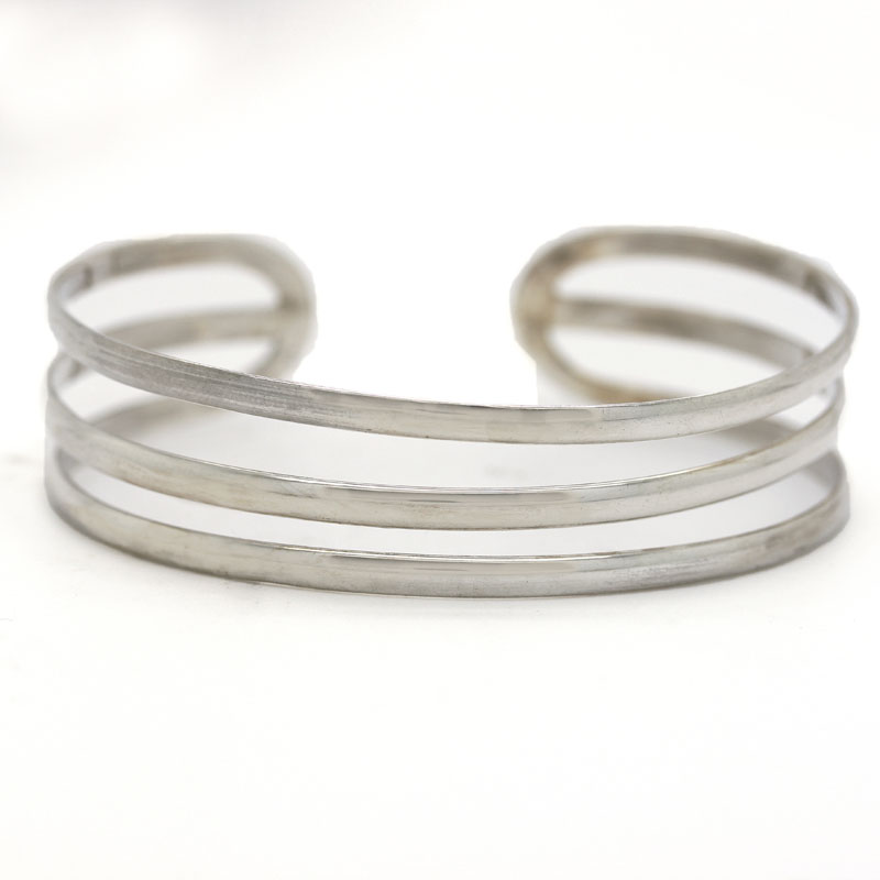 Three-Row Sterling Silver Cuff Bracelet - Item # B0086 - Reliable Gold Ltd.