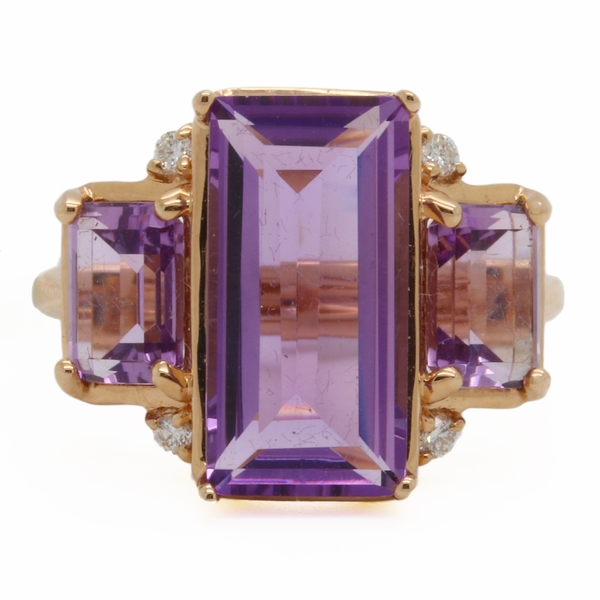 Three Stone Amethyst Cocktail Ring - Item # R1729 - Reliable Gold Ltd.