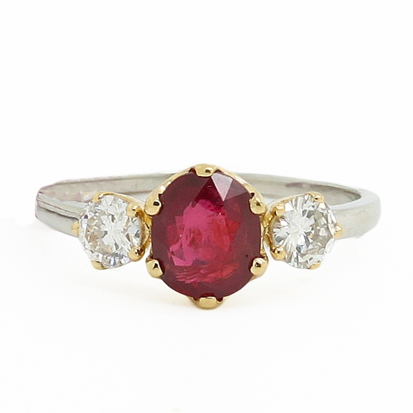 Ruby & Diamond Three-Stone Ring - Item # R1607 - Reliable Gold Ltd.