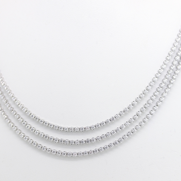 Three Strand Diamond Necklace - Item # N0246 - Reliable Gold Ltd.