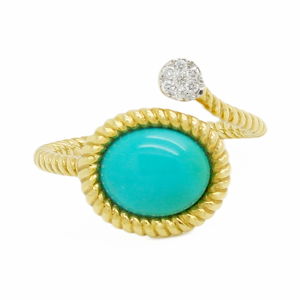 Turquoise & Diamond Bypass Ring - Item # R0543 - Reliable Gold Ltd.