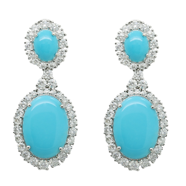 Oval Turquoise And Diamond Drop Earring - Item # HM0578 - Reliable Gold Ltd.