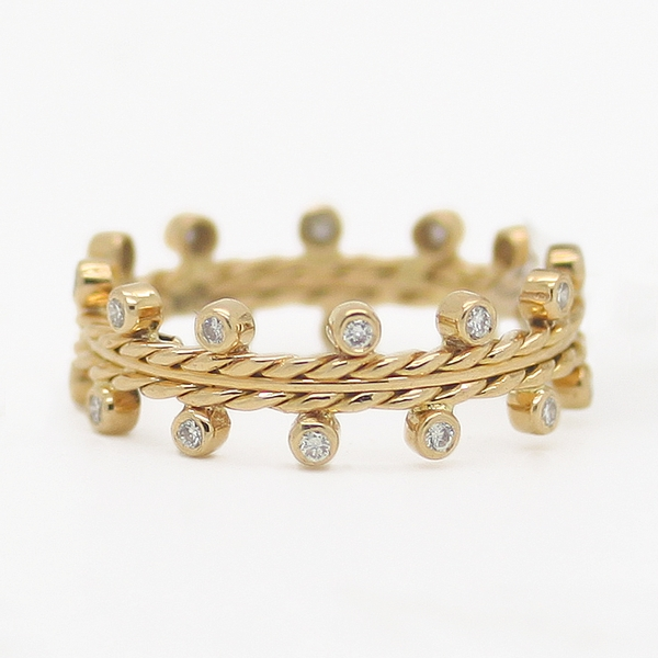 Twisted Yellow Gold Band With Diamonds - Item # HM0189 - Reliable Gold Ltd.