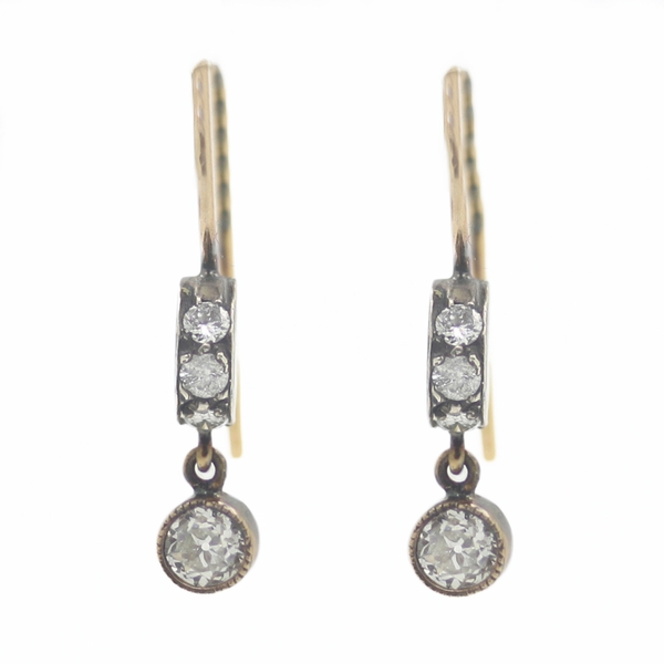 Estate Rose Cut Diamond Drop Earrings In Gold & Sterling Silver - Item # ER0028 - Reliable Gold Ltd.
