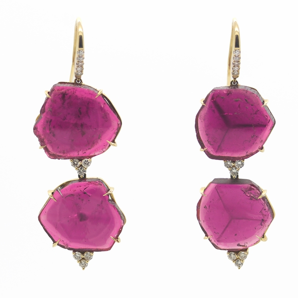 Watermelon Tourmaline & Diamond Earrings - Item # ER0279 - Reliable Gold Ltd.