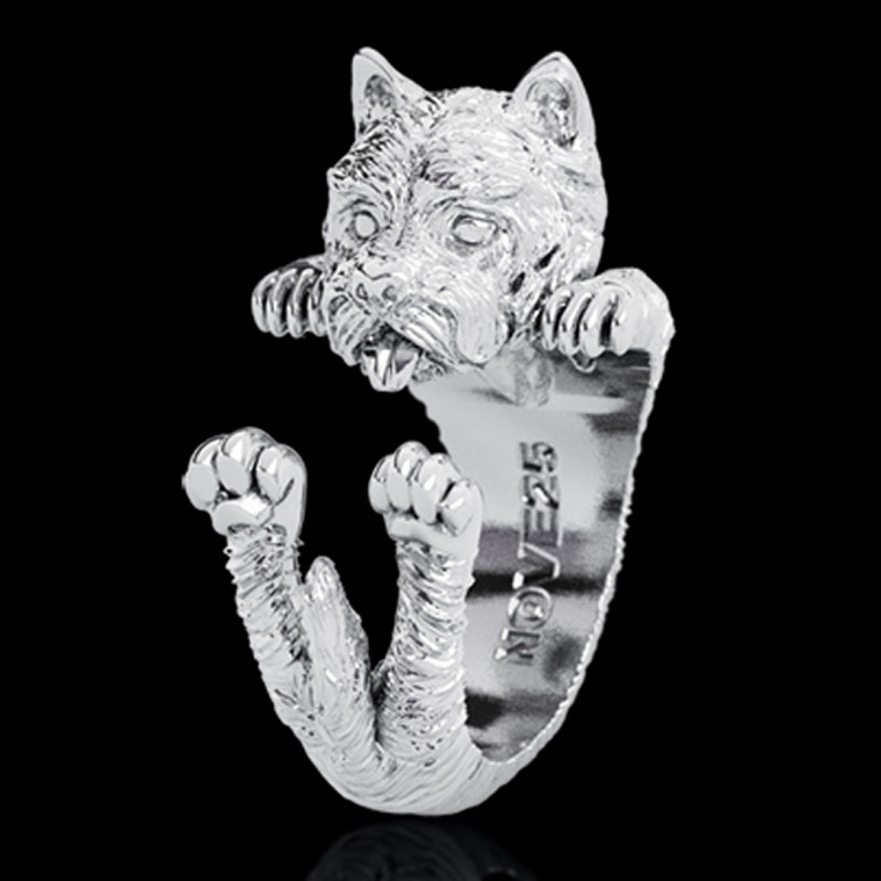 West Highland White Terrier Sterling Silver Huggie Ring - Item # R0127 - Reliable Gold Ltd.