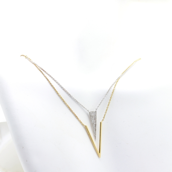 Two Tone Triangle & V Shaped Diamond Necklace - Item # N1371 - Reliable Gold Ltd.
