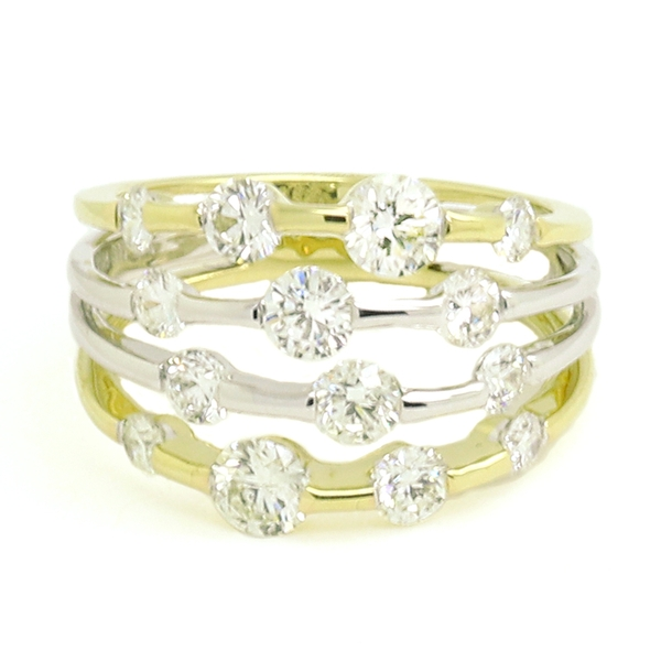 Open Multi-Row Diamond Ring - Item # R1672 - Reliable Gold Ltd.
