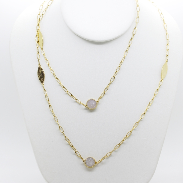 Yellow Sterling Silver Hammered Necklace With Druzy - Item # N1389 - Reliable Gold Ltd.