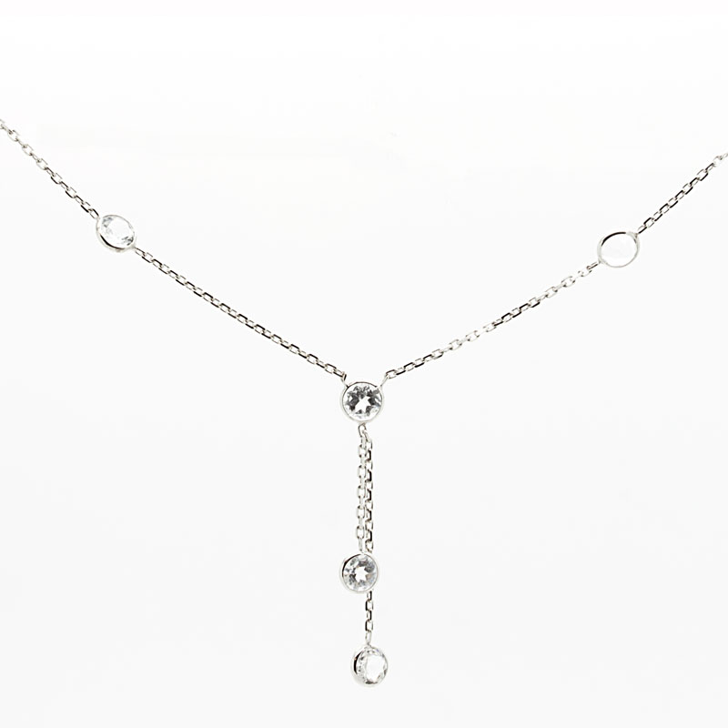 White Topaz & White Gold Y-Necklace - Item # N3130 - Reliable Gold Ltd.