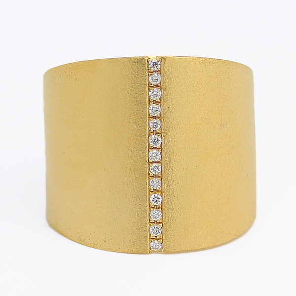 Wide Graduated Yellow Gold Band With Diamonds - Item # R0359 - Reliable Gold Ltd.