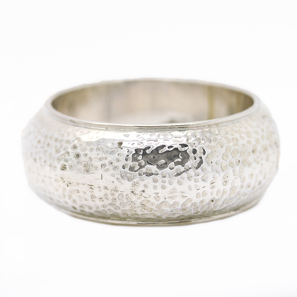 Hammered Wide Silver Bangle Bracelet - Item # JM0043 - Reliable Gold Ltd.