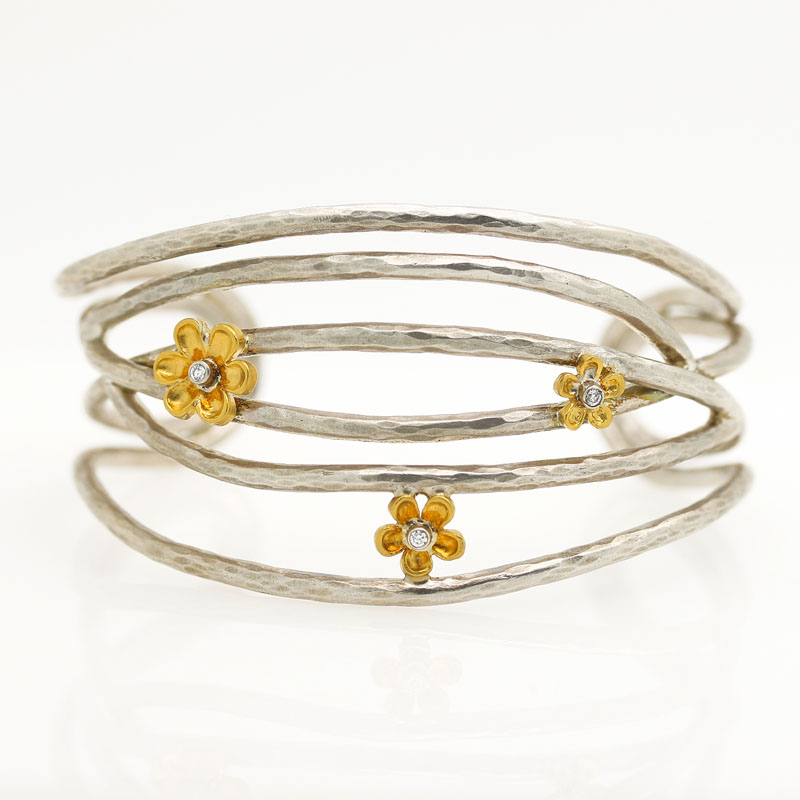 Open Silver Cuff With 24K Yellow Gold Flowers With Diamonds - Item # B5388 - Reliable Gold Ltd.