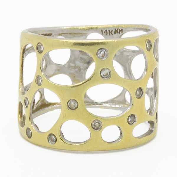 Wide Openwork Band With Diamonds - Item # R0231 - Reliable Gold Ltd.