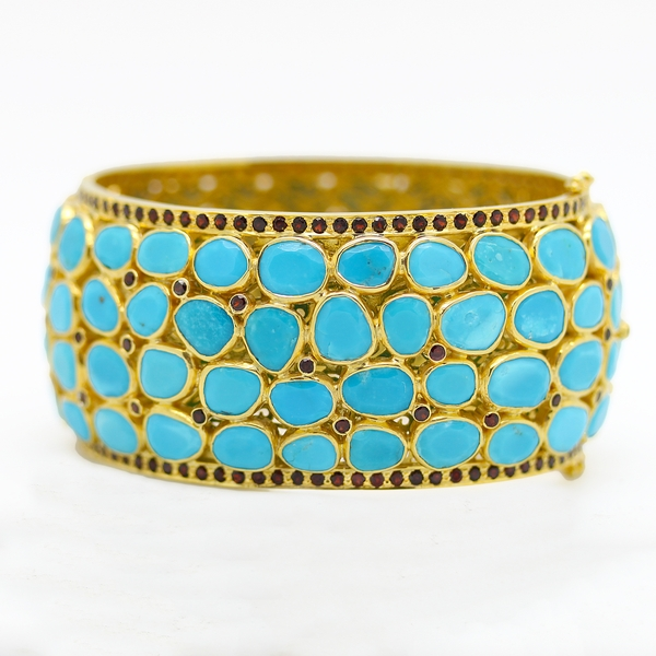 Wide Turquoise Bangle Bracelet With Garnets - Item # B0192 - Reliable Gold Ltd.