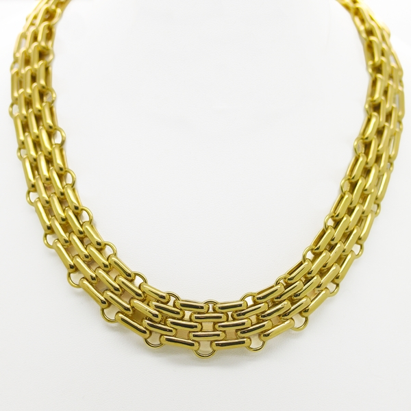 Wide Brick Link Yellow Gold Necklace - Item # JM0041 - Reliable Gold Ltd.