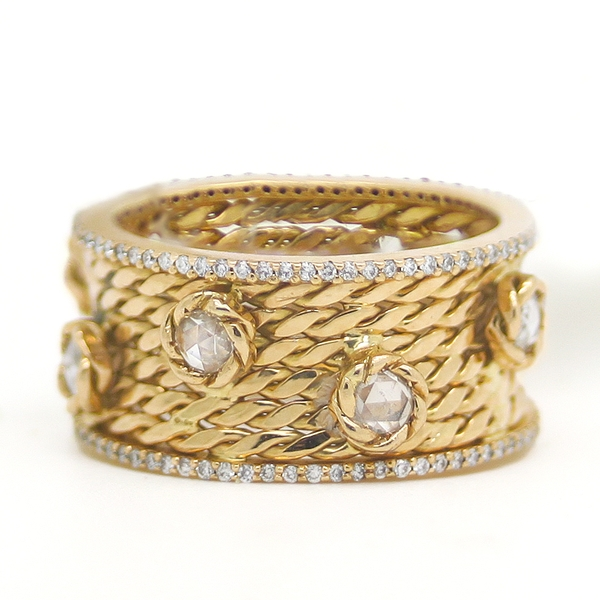 Wide Twisted Yellow Gold Band With Diamonds - Item # HM0190 - Reliable Gold Ltd.