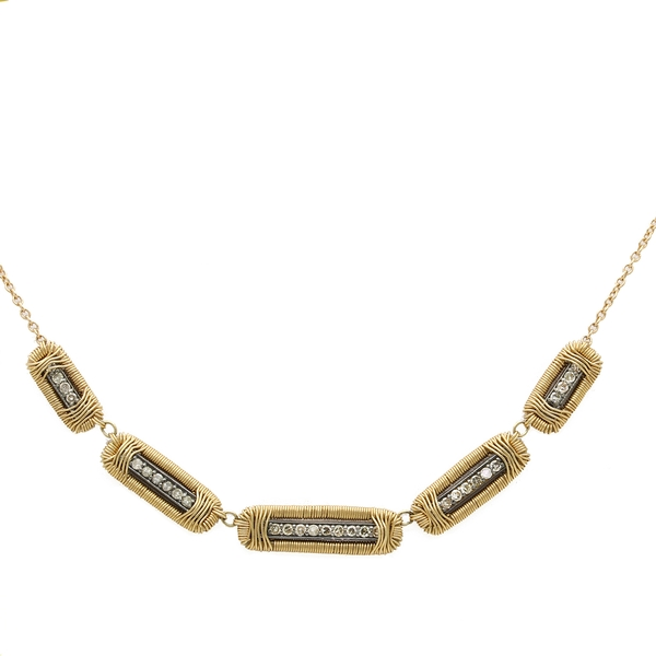 Diamond Necklace In Yellow Gold & Oxidized Silver  - Item # N1358 - Reliable Gold Ltd.