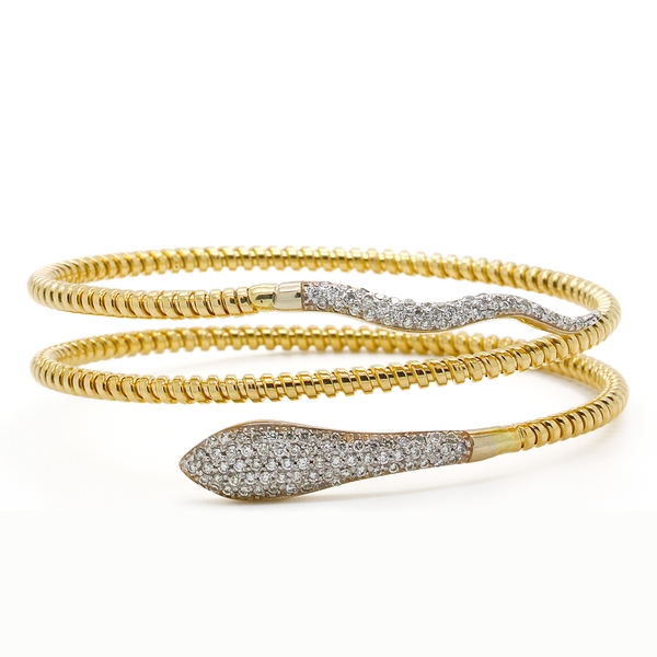 Diamond Snake Bracelet In Yellow Gold - Item # B0125 - Reliable Gold Ltd.