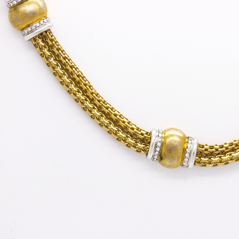 18K Yellow Gold Rope Necklace With Diamonds - Item # N2980 - Reliable Gold Ltd.