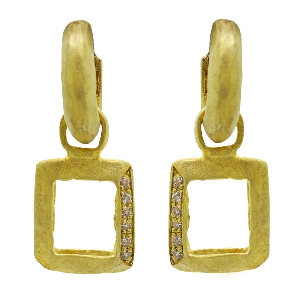 Detachable Square Hoop Earrings With White Sapphires - Item # ER1518 - Reliable Gold Ltd.
