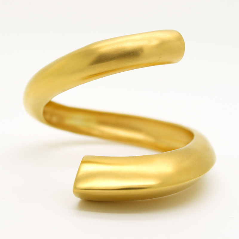 Gold Plated Sterling Silver Bypass Cuff Bracelet - Item # B0037 - Reliable Gold Ltd.