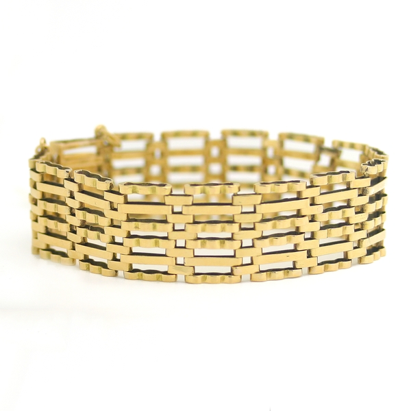 English Yellow Gold Gate Bracelet - Item # B0160 - Reliable Gold Ltd.