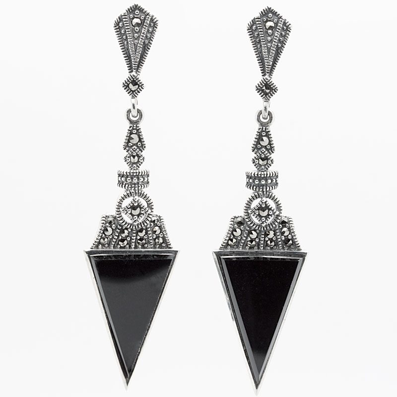 Onyx Marcasite Drop Earrings In Sterling Silver Item Er4892 Reliable Gold Ltd