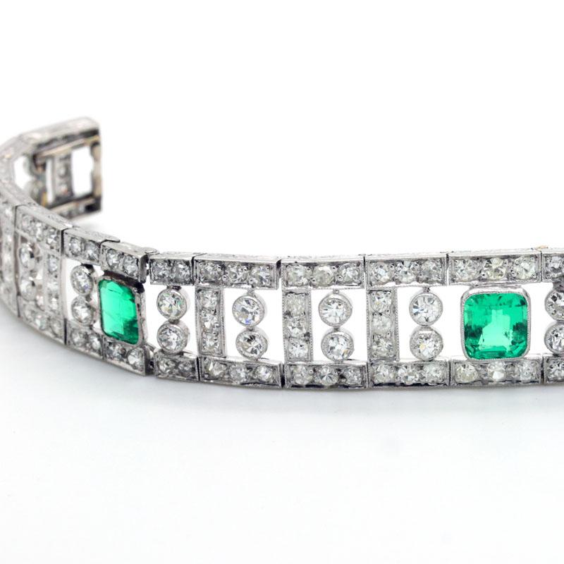 Diamond & Emerald Deco Period Bracelet - Item # B1816A - Reliable Gold Ltd.