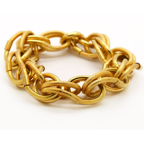 Textured And Polished Beautifully-Linked Gold Bracelet - Item # B2737A - Reliable Gold Ltd.